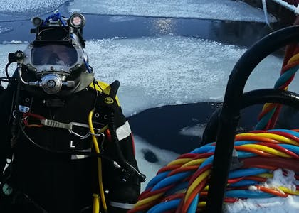 Techno Dive - diving vessel for subsea operations - ice water